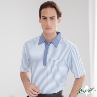PAUL MAURIAT波爾.瑪亞吸溼排汗短袖POLO衫-水藍橫紋