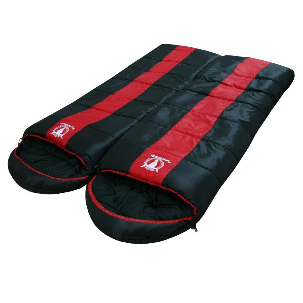 【APC】秋冬可拼接全開式睡袋-雙層七孔棉 (紅黑色) 2入組