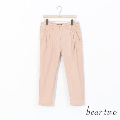 beartwo-亮眼金屬串飾滾邊造型九分褲-二色