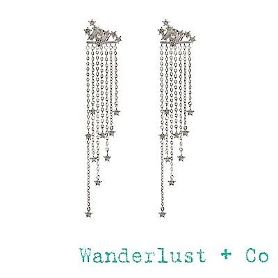 Wanderlust+Co 鑲鑽星星流蘇耳環 前後扣垂墜式耳環 STARRY SKIES