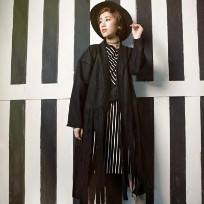 古著 黑色毛料絨流蘇披風長外套