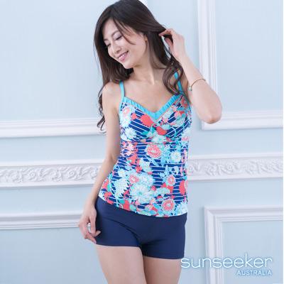 澳洲Sunseeker泳裝藍系花朵兩件式泳衣
