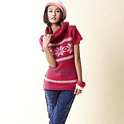【TOP GIRL】高領短袖提花毛衣-果紅