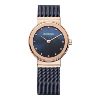 BERING丹麥精品手錶 晶鑽米蘭帶系列 珍珠母貝錶盤 北歐藍x玫瑰金 小錶面26mm