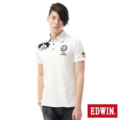 EDWIN-POLO衫-江戶勝限量富士山POLO衫-男-米白