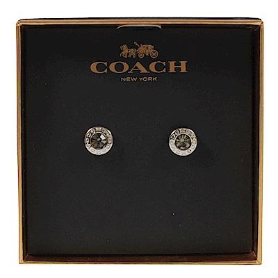 COACH 圈圈logo水鑽經典耳環(銀)