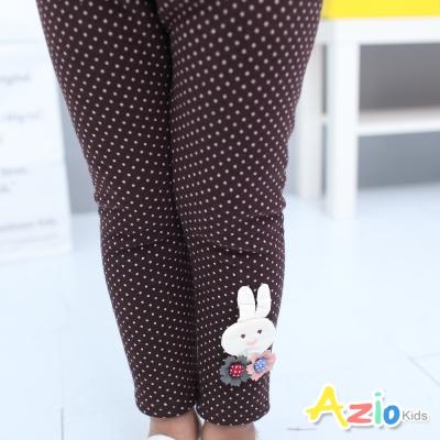 Azio Kids 童裝-內搭褲 不倒絨點點兔子鬆緊腰內搭褲(咖啡)