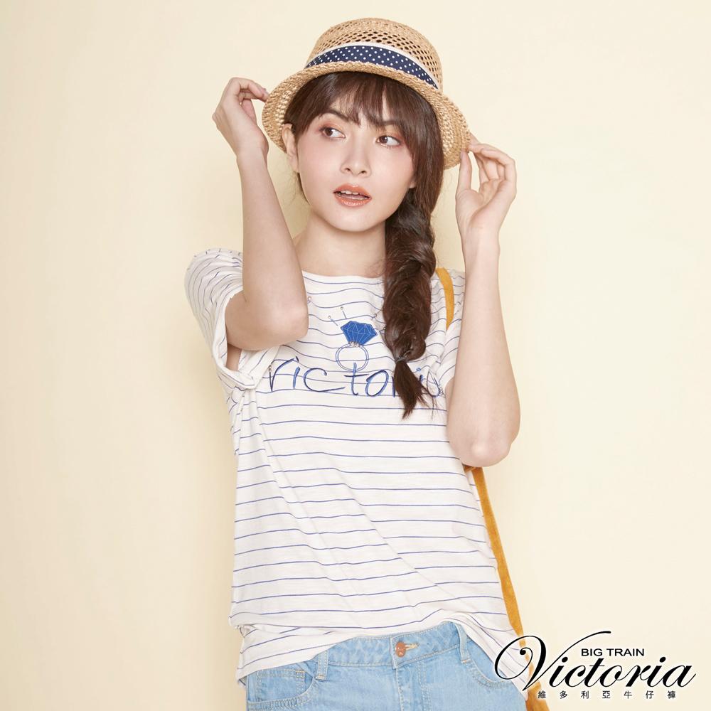 Victoria LOGO寶石戒指寬鬆短袖T-女-寶藍條