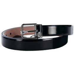 DOLCE & GABBANA 拼接設計皮革腰帶(黑色)