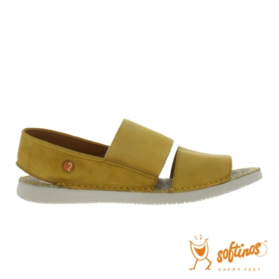 SOFTINOS(女) TAI STYLE 雙寬線牛皮鬆緊帶雙料休閒涼鞋 - 蜜黃