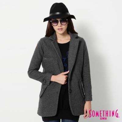 SOMETHING-毛呢西裝外套-女-灰色