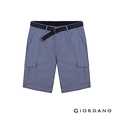 GIORDANO 男裝附腰帶COOLMAX素色口袋卡其短褲-17 深藍白