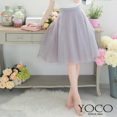 東京著衣-yoco 獨家自訂款珍珠點綴紗裙-XS.S.M(共三色)