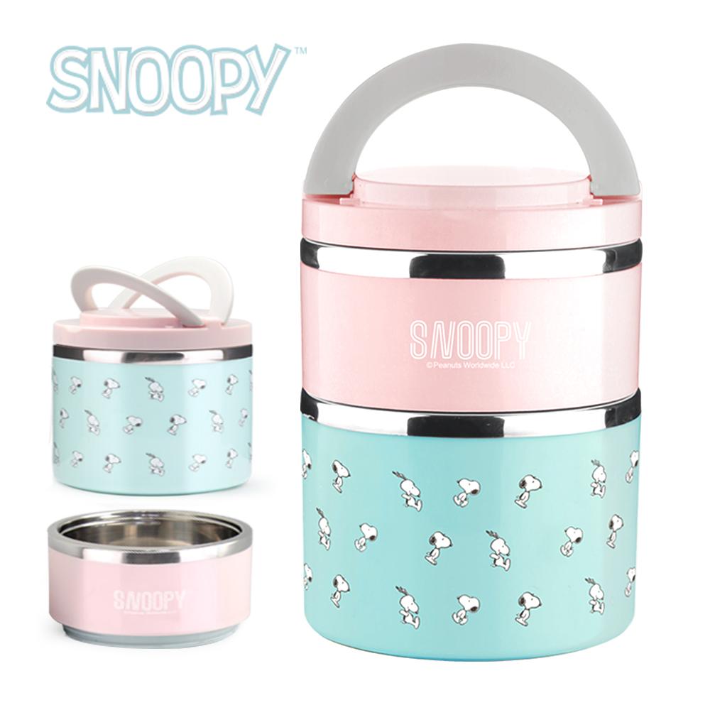 SNOOPY史努比 馬卡龍#304不鏽鋼雙層大保溫餐盒組1500ml