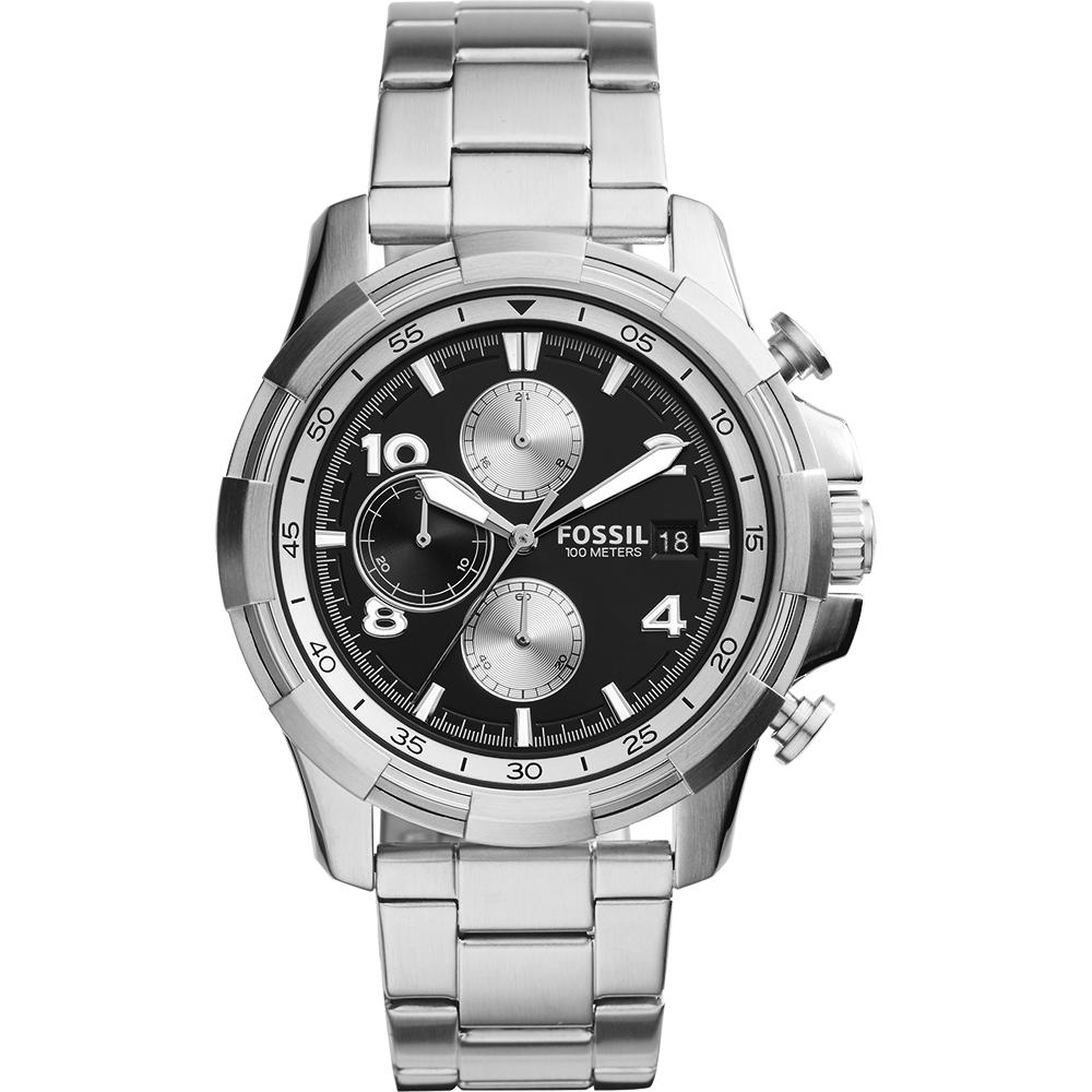 FOSSIL Dean 艦隊巡航計時腕錶-黑x銀/45mm