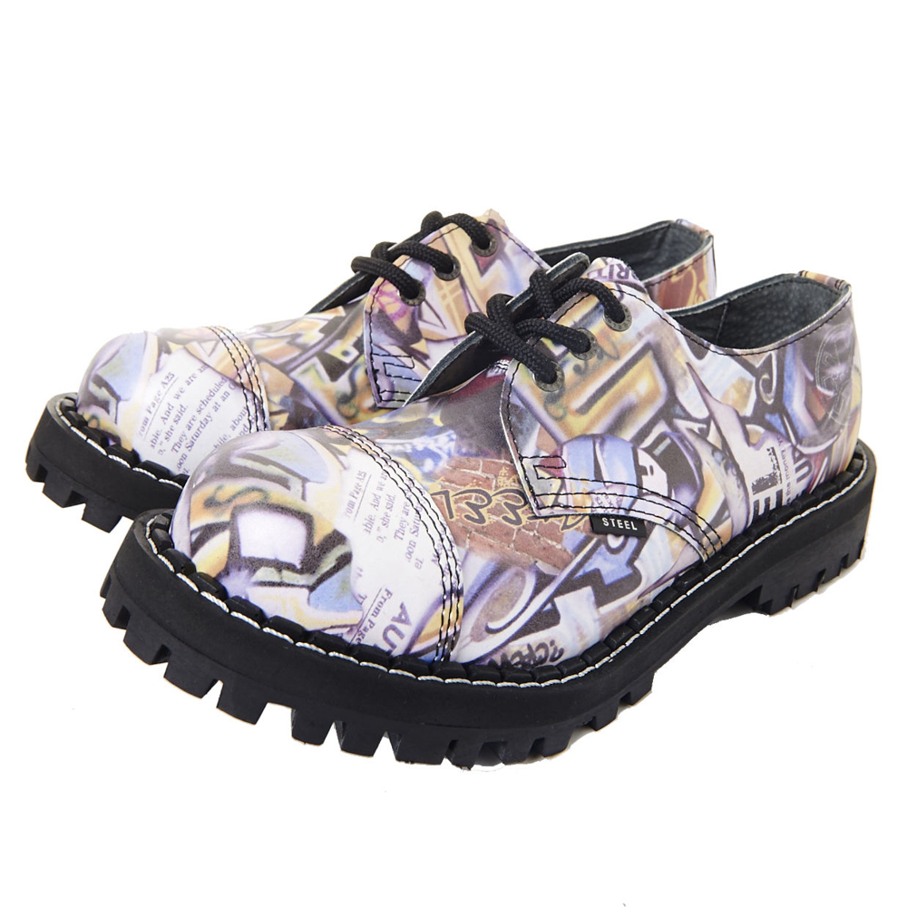 STEEL BOOTS歐洲經典3孔鐵頭鞋-城市圖紋