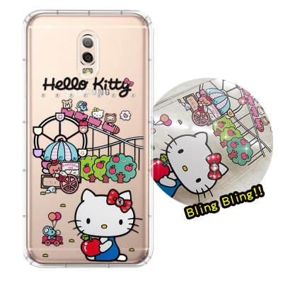 正版凱蒂貓 Samsung Galaxy J7+ 夢幻童話 彩鑽氣墊手機殼(遊樂...