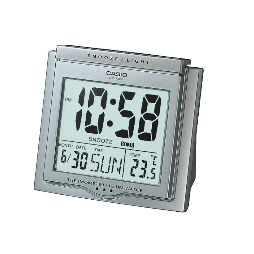 CASIO 測溫型數字電子鬧鐘(DQ-750F-8)-銀