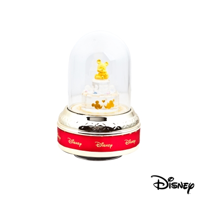 Disney迪士尼金飾 甜蜜米奇玻璃屋音樂盒立體金飾