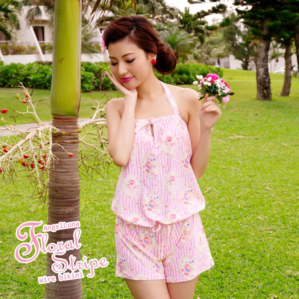 【AngelLuna日本泳裝】復古直條紋三件式比基尼泳衣-粉色連身褲