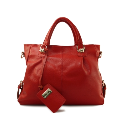 Dennibella 丹妮貝拉-真皮蛇鍊造型斜背手提包-俏麗紅