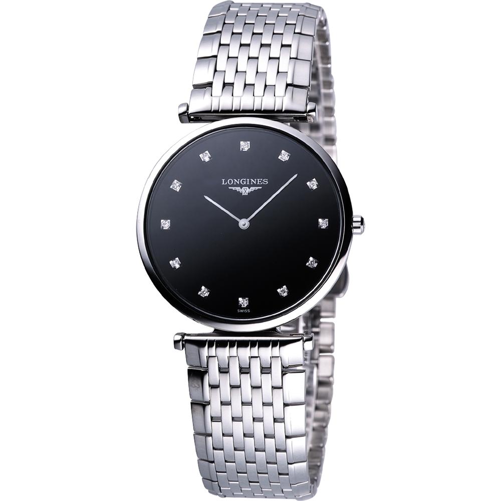 Longines 嘉嵐系列 12顆真鑽石英腕錶(L47554586)-黑/36mm L47554586
