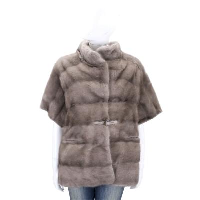 Manzoni 24 灰色腰釦寬袖貂毛皮草外套