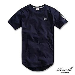 Roush 袖印線條長版弧型短TEE(4色)