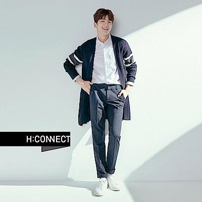 H:CONNECT 韓國品牌 男裝 - 開襟色塊袖長針織外套 - 灰