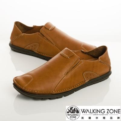 WALKING ZONE 英倫真皮自然風格休閒鞋男鞋-棕