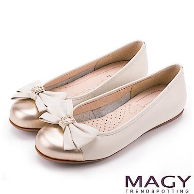 MAGY 甜美新風貌 真皮鑽飾蝴蝶結平底娃娃鞋-米白
