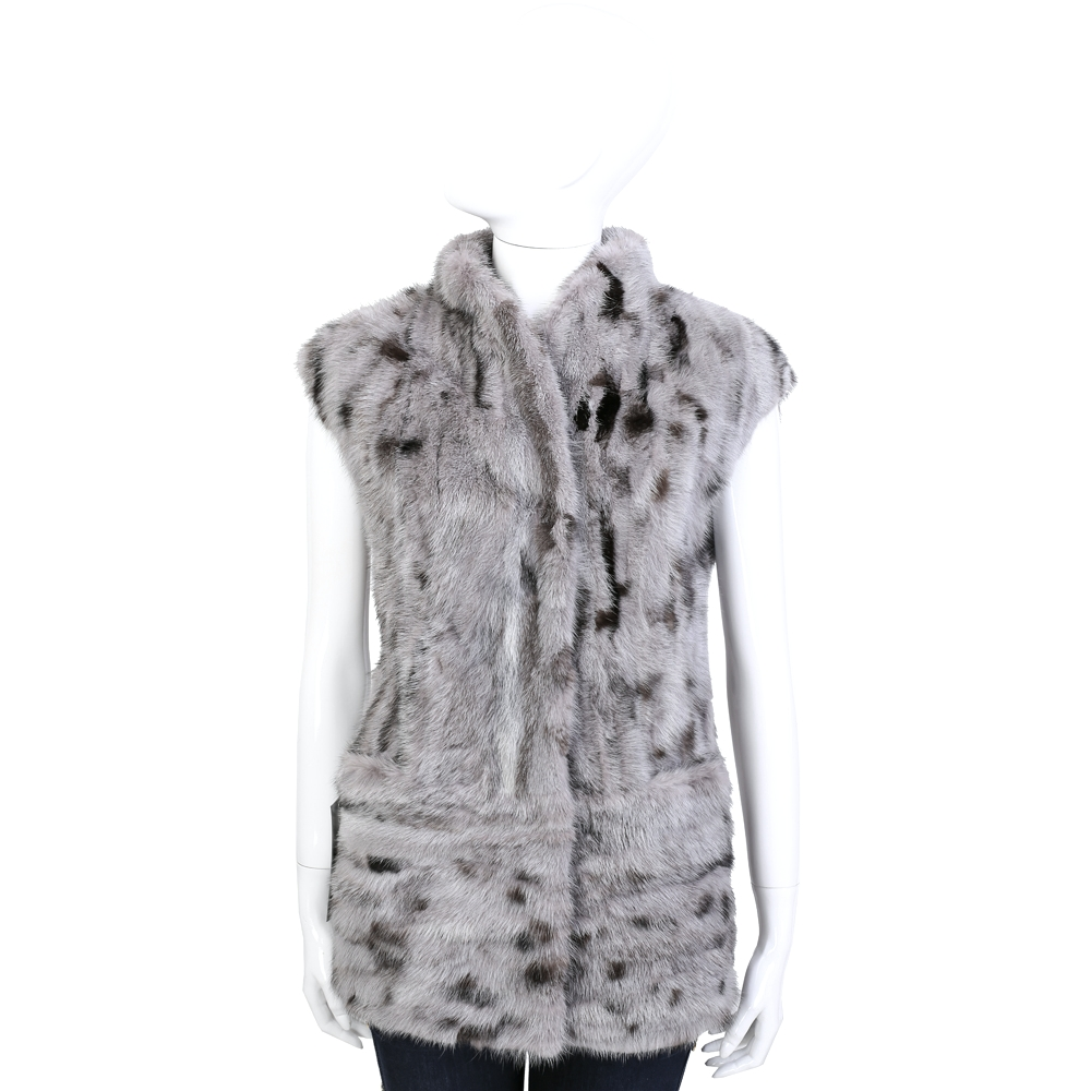 GRANDI furs 灰色拼接無袖皮草長背心