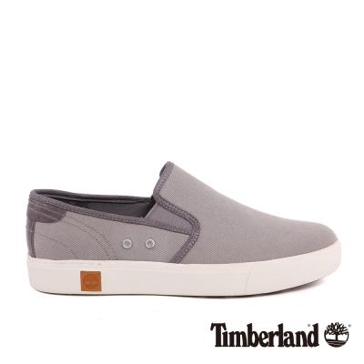 Timberland 男款中灰色帆布雙側鬆緊帶便鞋