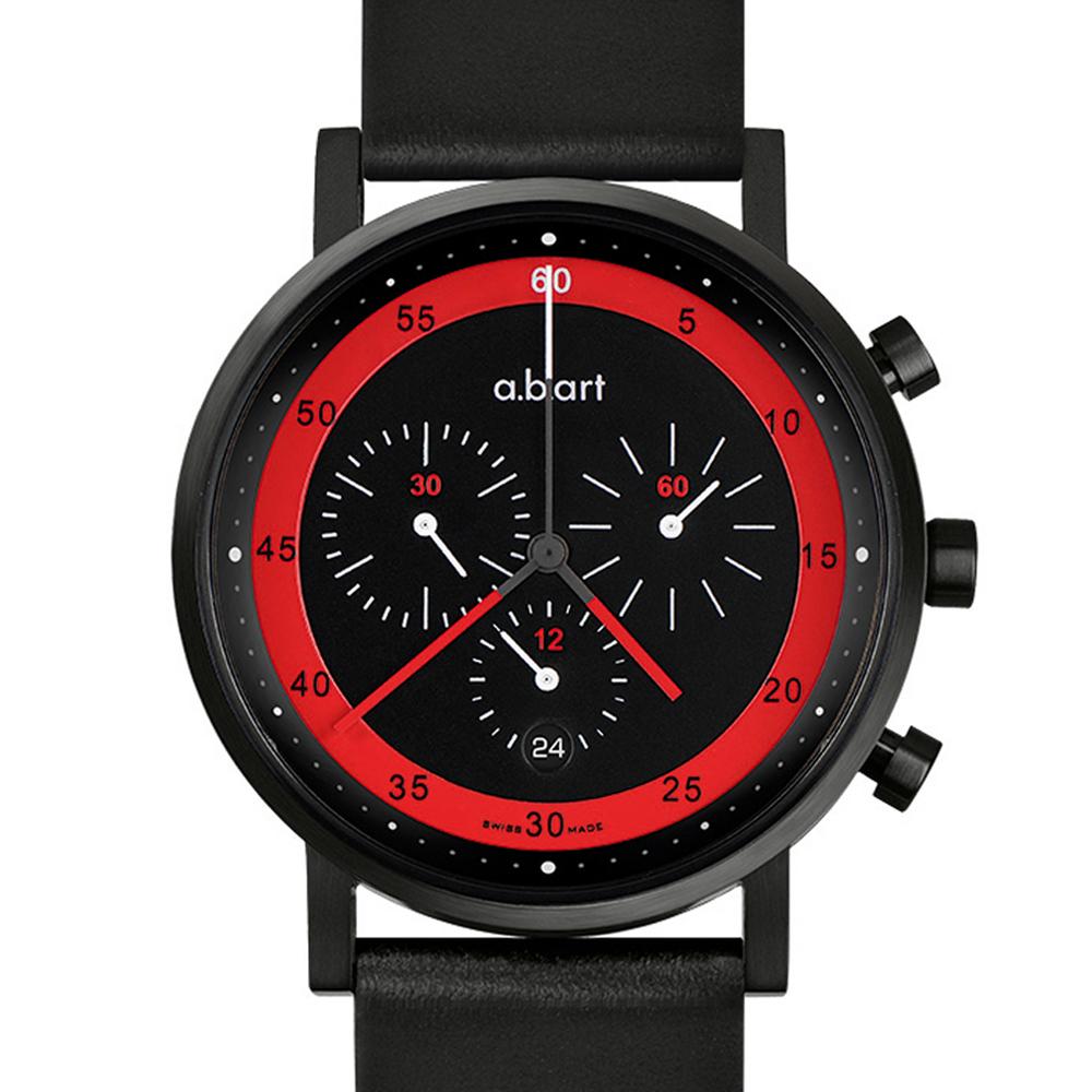 a.b.art OC 德式極簡之競速車隊三眼計時碼錶-黑紅/40.5mm