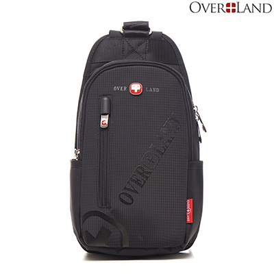 OVERLAND-美式十字軍x品牌LOGO浮印隨行胸肩包