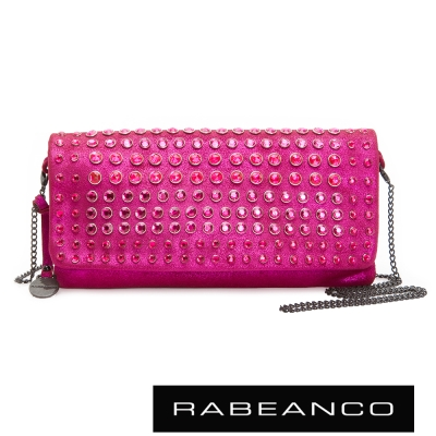 RABEANCO-璀璨時尚滿鑽晚宴手拿包-亮粉桃