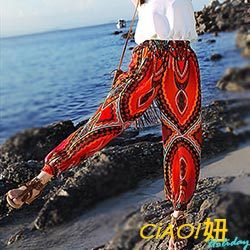 民族風花紋鬆緊燈籠褲(紅色)-CIAO妞 Holiday