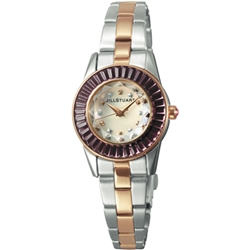 JILL STUART Prism Mini系列晶鑽時尚錶款-銀x玫瑰金x紫鑽/24mm