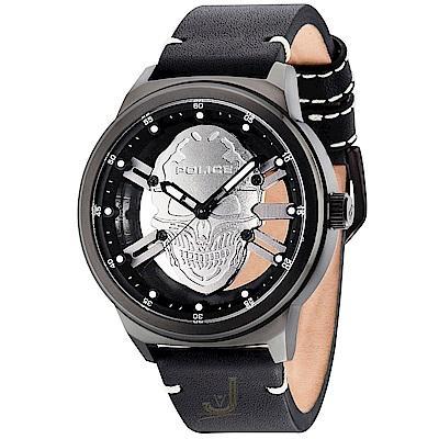 POLICE 搖滾率性骷髏頭時尚皮革手錶-黑/48mm