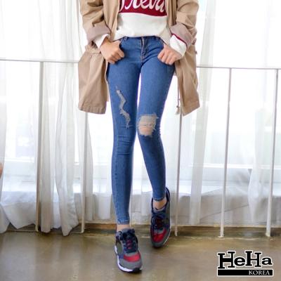 牛仔褲-彈性磨破高腰閃電圖形修身長褲-HeHa