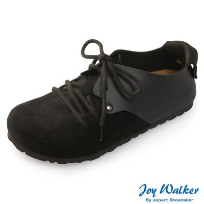 Joy Walker 休閒撞色拼接綁帶包鞋* 黑