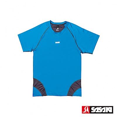 SASAKI 高彈力機能性運動緊身圓領短衫-男-亮藍/深灰