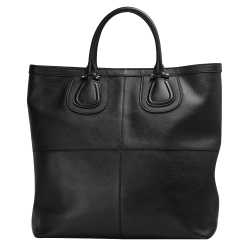 GIVENCHY NIGHTINGALE 系列LOGO壓紋小羊皮直立手提包(黑)