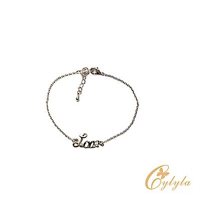 Cylyla思琳娜 施華洛世奇元素LOVE珍愛白水晶手鍊BL-1280G