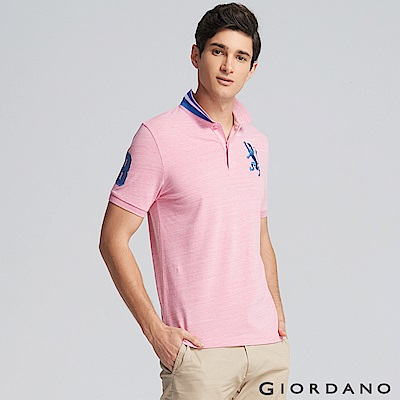 GIORDANO 男裝勝利獅王3D刺繡彈力萊卡POLO衫 -43 仿段彩薔薇粉紅