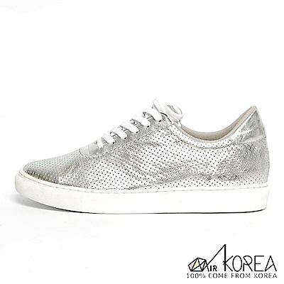 【AIRKOREA】韓國空運質感真皮革休閒基本款增高鞋增高3.5公分 銀