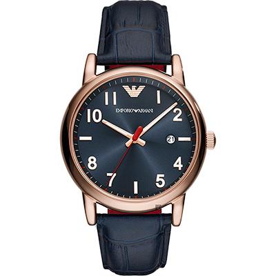 Emporio Armani 亞曼尼伯爵手錶-藍x玫瑰金框/43mm