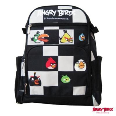 【Angry Birds 憤怒鳥】組合昇華格紋護脊書包(黑)