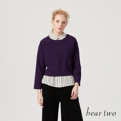 beartwo 兩件式襯衫後綁帶造型上衣(二色)-動態show