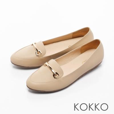 KOKKO-英倫牛皮金屬鍊透氣樂福休閒鞋-裸卡其